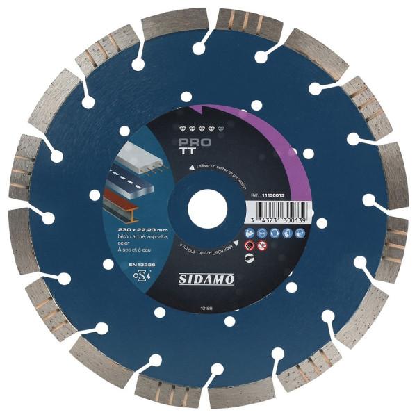Disque Diamant à segment PRO BAT 230 mm Tronçonnage béton/Asphalte/Acier SIDAMO