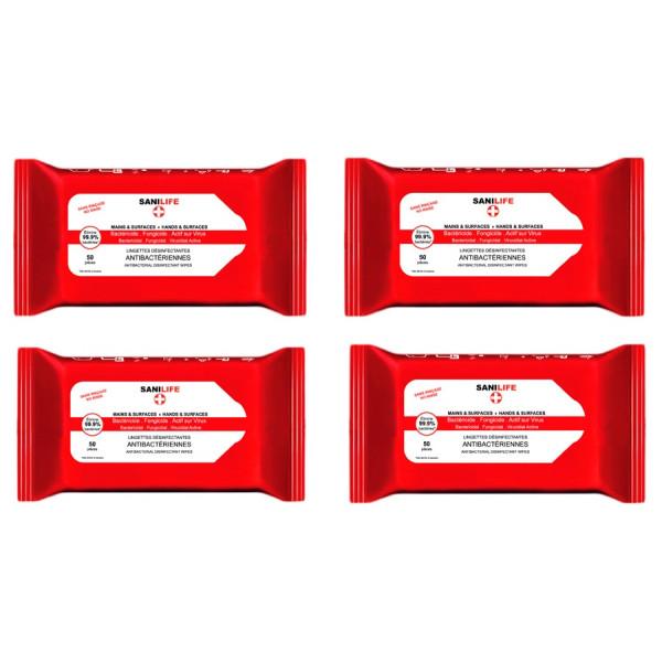 Lingettes désinfectantes antibactériennes, 4 paquets SANILIFE