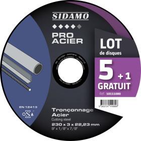 Lot de 5 disques +1 gratuit A30S Tronçonnage Acier SIDAMO