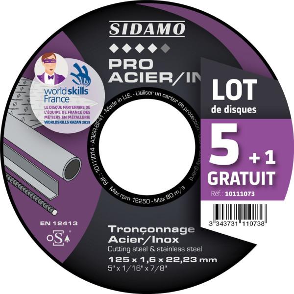 Lot de 5 disques + 1 gratuit Tronçonnage Acier/Inox SIDAMO