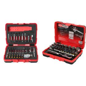 """Jeu d'embouts de vissage et douilles 1/4"""" + Coffret d'extraction pour vis TORX® et 6 pans"""" KS Tools"""