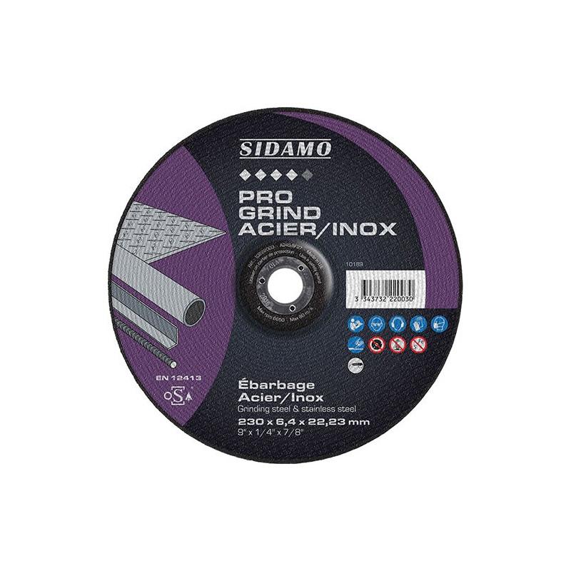 Boîte de 10 disques SIDAMO A24SD Meule d'ébarbage Acier Inox