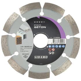 Disque Diamant à segment 115 mm / Alesage 22,23 mm PRO BETON Tronçonnage béton SIDAMO